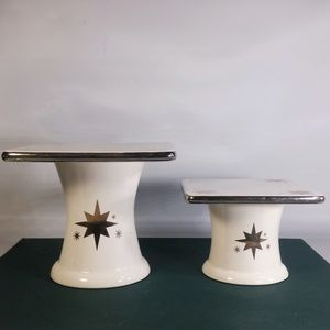 2pc Holiday Edition Ceramic Pedestal Candle Holder